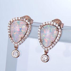 Art Deco Halo Fire Opal Earrings Silver Earrings